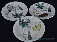 3 Williams Sonoma Christmas Dessert Salad Plates French Script Holly Champagne #WilliamsSonoma