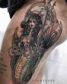 Neo trad Mermaid by Evan Yu ink Neotraditionelles Tattoo, Fire Tattoo, Tattoo Fonts, Body Tattoos, Ink Tattoos, Traditional Tattoo Sketches, Neo Traditional Tattoo, Dark Mermaid, Mermaid Art