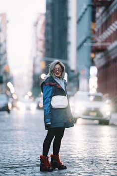 Red Blue and White - Laureen Uy Alexander Mcqueen Boots, Oversized Jacket, Carolina Herrera, Red And Blue, Winter Jackets, Hoodies, Guys, My Style, Real Life