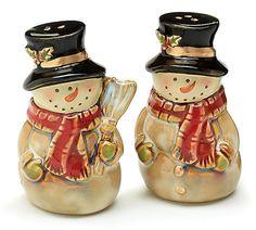 Porcelain Snowman Salt & Pepper Shakers Antique Vintage Look burton & BURTON  #burtonBURTON