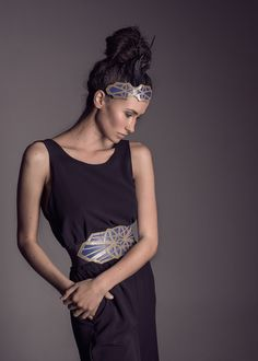 collection orion xaruxamu fashion editorial inspired by art deco headband and belt leather limited edition années folles the great gastby cobalt feather 20s headband