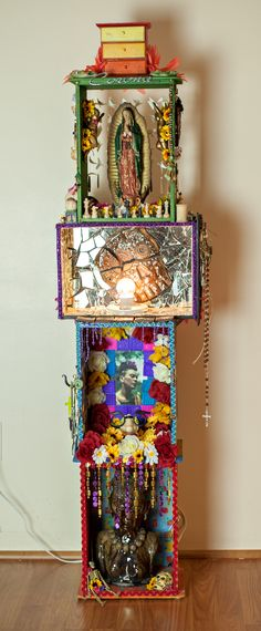 *altars are art* Altar of Feminine Mystery dedicated to the blessed mother and all women everywhere. collage, mixed media art. Casney Tadeo Fine Art