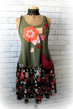 Rustic Casual Dress Upcycled Clothes Drop Waist Dress Floral