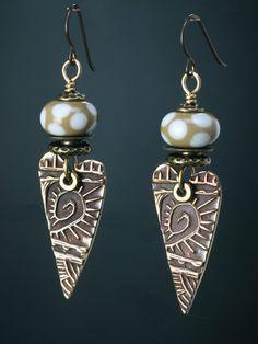 bronze heart earring by JudieMountain on Etsy, $75.00