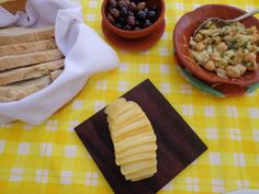 Bread, Olives, Goat Cheese and Codfish Garbanzo Salad