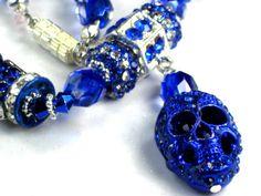 Royal Blue Skull Necklace Filigree Crystal Beads with Royal Blue Crystal PAVE Beads lots of Crystal Shamballa Beads by Chris of PurseCharming7, $28.00