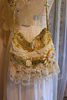 Fancy Flower Handbag, vintage doily, soft ruffled laces, yellow handmade via Etsy
