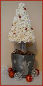 Home made Christmas tree made of popcorn