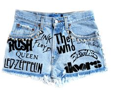 The Groupie Shorts from MisfitandCo on Etsy. High Waisted Ripped Shorts, Distressed High Waisted Shorts, Vintage High Waisted Shorts, Studded Shorts, Vintage Shorts, Diy Shorts, Diy Jeans, Painted Jeans, Painted Clothes