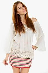 Boho Babe Top: Bohemian inspired off the shoulder top. Features a crochet trim on the hem. Adjustable straps.