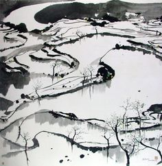 The beauty of abstract form: Wu Guanzhong's Ink Paintings and… - Ink Painting Chinese Landscape Painting, Japanese Painting, Chinese Painting, Japanese Art, Landscape Paintings, Ink Paintings, Wu Guanzhong, Sumi E Painting, Chinese Contemporary Art