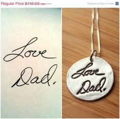 SALE Custom Handwriting or Artwork Necklace from Fine Silver using Actual Hand Writing or Signature