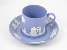 Wedgwood Jasperware Cream on Lavender Demitasse Cup and Saucer Set by VintageFineJewelry, $25.00