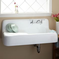 """42"""" Cast Iron Wall-Hung Kitchen Sink With Drainboard - Farmhouse Sinks - Kitchen Sinks - Kitchen"""