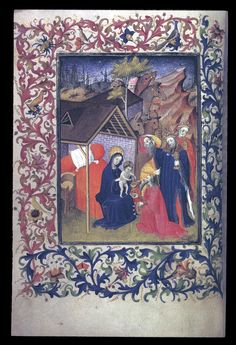 Adoration of the Magi. Egerton 1070 f. Medieval Manuscript, Medieval Art, Illuminated Manuscript, True Meaning Of Christmas, Nativity Scenes, Bible Covers, Library Catalog, Book Of Hours, Madonna And Child