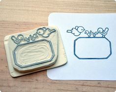 Hand-carved frame rubber stamp ||| DIY, planner, stationery