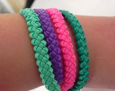 Gimp Lace Bracelet Braided Neon Magenta Lace by GiannasCreations, $6.00