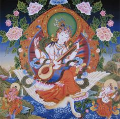 Saraswati. Goddess of the arts, music, dancing, poetry