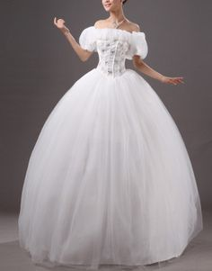 Beige ball gown off-the-shoulder beaded floor-length crystal yarn wedding dress US$84.50