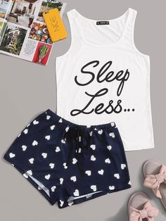 To find out about the Slogan Print Tank Top & Drawstring Shorts PJ Set at SHEIN, part of our latest Pajama Sets ready to shop online today! Cute Pajama Sets, Cute Pjs, Cute Pajamas, Pj Sets, Cute Lazy Outfits, Girl Outfits, Emo Outfits, Summer Outfits, Cute Sleepwear
