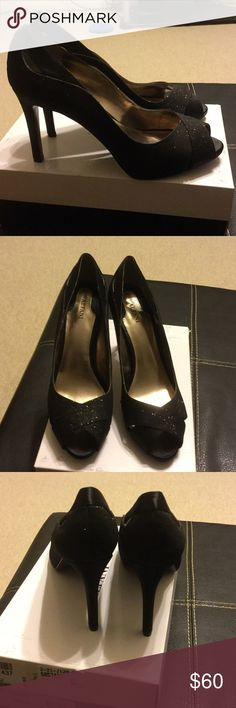 Black fabric heels with cut out detail size 9.5 New black Alfani fabric heels with a satin and glitter detail Alfani Shoes Heels
