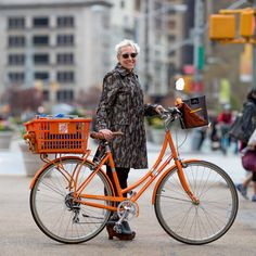 Helene Verin is a designer, author, and professor at the Fasion Institute of Technology. She's fond of orange. The liberated shopping basket was a perfect