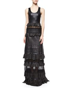 Harley Leather & Lace-Inset Maxi Dress by Diane von Furstenberg at Neiman Marcus.