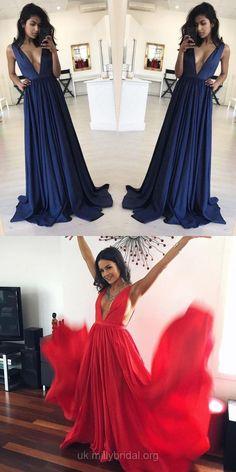 Navy Prom Dress, Long Prom Dress, Sexy Prom Dress 2018, A-line Prom Dress V-neck, Satin Prom Dress with Ruffles #prom2k18