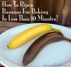 How to easily ripen bananas for baking in less than 10 minutes!!  Perfect for last-minute banana bread!  :)