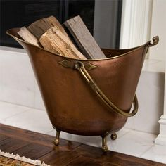 Hopewell Copper Firewood Basket on Feet - Antique Copper - Fireplace and Hearth - Home Accents Firewood Basket, Firewood Storage, Fireplace Hearth, Fireplaces, Fireplace Ideas, Bucket With Lid, Hearth And Home, Fireplace Accessories, Home Hardware