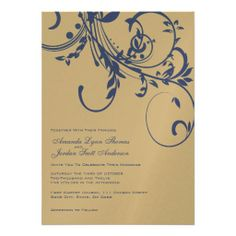 Navy and Gold Double Floral Wedding Invitation