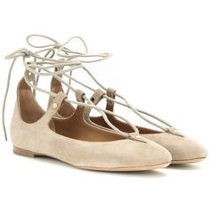 Chloé Suede Lace-Up Ballerinas ($500) ❤ liked on Polyvore featuring shoes, flats, neutrals, ballet flats, suede ballerina flats, beige ballet flats, ballet shoes and beige flats