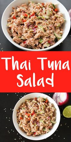 This Thai tuna salad has got a load of protein and great flavors that will spice up your lunch any day! This Thai tuna salad has got a load of protein and great flavors that will spice up your lunch any day! Good Healthy Recipes, Healthy Foods To Eat, Easy Dinner Recipes, Healthy Eating, Healthy Lunches, Healthy Dishes, Healthy Nutrition, Delicious Recipes, Fish Recipes