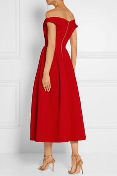 Preen by Thornton Bregazzi | Finella pleated stretch-crepe midi dress | NET-A-PORTER.COM