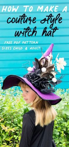 Learn how to make this adorable witch hat, the perfect addition to your Halloween costume, or for everyday play! Free printable, PDF pattern with child & adult sizes. Easy step by step tutorial, makes creating your own DIY costume a breeze! #witchhat #diycostume #halloweenproject #freepattern