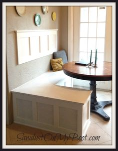 Board & Batten Banquette I love the wall piece. Put some cork board, white board or chalk board in the squares on the wall. This would be amazing in our nook! Kitchen Benches, Kitchen Nook, Home Decor Kitchen, Home Kitchens, Diy Home Decor, Kitchen Ideas, Diy Kitchen, Kitchen Interior, Banquette Seating