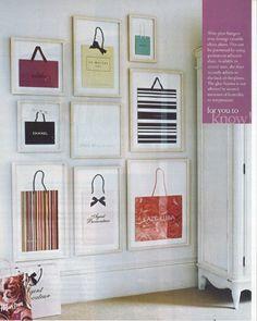 Things We Love: Framed Art - love the idea of framing designer bags