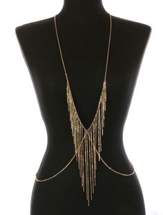 New Body Chain With Gold Fringe Layered Gold Bikini Accent Necklace Torso #SP