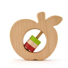 Apple Baby Rattle  Choose Your Own Colors  Wood by hcwoodcraft