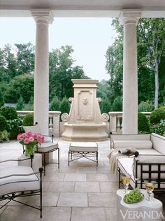 Outdoor room featured in Veranda magazine Outdoor Areas, Outdoor Rooms, Outdoor Living, Outdoor Decor, Outdoor Patios, Outdoor Furniture, Outdoor Kitchens, Outdoor Seating, Wicker Furniture
