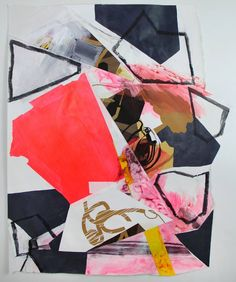 Mixed media collage on paper (acrylic, charcoal, screen print, duct tape, artist tape)