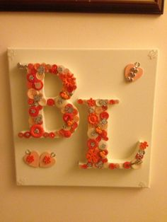 funky orange wedding plaque