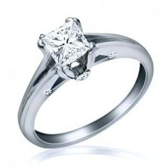 SOLITAIRE PRINCESS CUT DIAMOND ENGAGEMENT RING 14K GOLD 0.93 ct (0.86) G/H-SI1