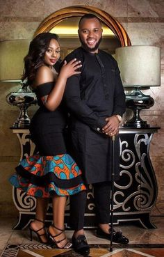 african dress styles Couples showcase their romantic relationship with beautiful and colourful Ankara outfits., you'll see how lovely couples look in Matching Ankara Outfits. Couples African Outfits, African Clothing For Men, African Dresses For Women, African Print Dresses, Couple Outfits, Modern African Dresses, African Print Wedding Dress, Casual Outfits, African Bridesmaid Dresses