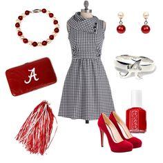 Gorgeous gameday outfit! #bama #crimson_tide #roll_tide #university_of_alabama #hudson_poole_jewelers