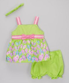 Another great find on #zulily! Green Butterfly Poplin Dress Set - Infant by Real Love #zulilyfinds
