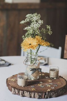 simple rustic burlap mason jars wedding centerpiece / http://www.himisspuff.com/rustic-country-burlap-wedding-ideas/16/