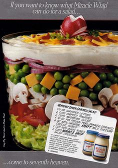 layered salad for entertaining...70's-80's trend
