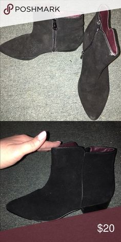 Report Signature black booties. Size 9. Used but in really good shape, black booties by Report Signature. Runs small, fits a typical size 8/8.5. Report Signature Shoes Ankle Boots & Booties
