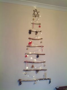 Driftwood Christmas tree.  This is my version of an idea from Pinterest.